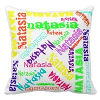 Name Collage Pillow Colorful Bright Neon White