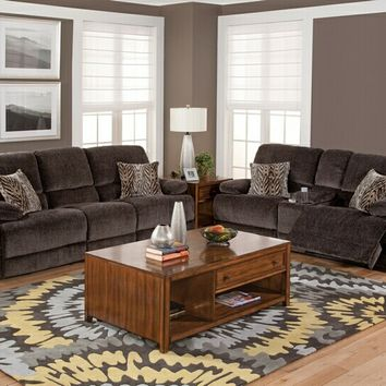New Classic 20-593-30-25SHA 2 pc idaho collection rumor shadow colored fabric upholstered sofa and love seat set with recliners