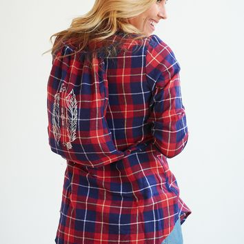 Favorite Plaid Tunic Button Up Shirt - With Bag!