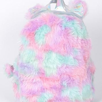 2018 Colorful Faux Fur Unicorn Inspired Backpack