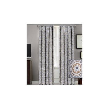 "Better Homes And Gardens Medallion Room Darkening Curtain Panel, 52"" X 95"", Gra"