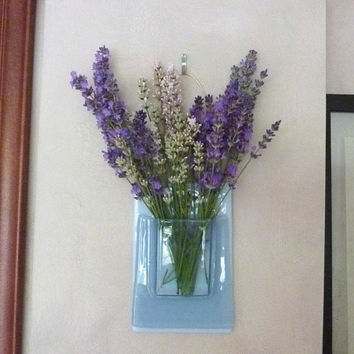 Chalky Blue Fused Glass Wall Pocket Vase