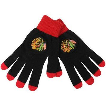 Men's Chicago Blackhawks Solid Knit Gloves
