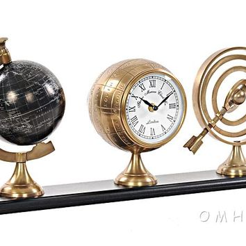 Brass Finish Vintage Armillery, Clock & Globe Trio On Wood Base (Great Gift!)