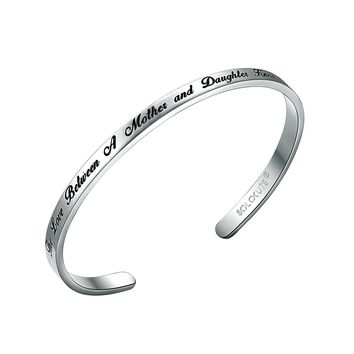 "SOLOCUTE Cuff Bangle Bracelet Engraved ""The Love Between A Mother and Daughter Knows No Distance"" Inspirational Jewelry, Perfect Gift for Christmas Day, Anniversary Day, Thanksgiving Day and Birthday"