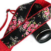 DSLR camera strap. Floral camera strap. Black and Red Camera Strap. Women Accessories