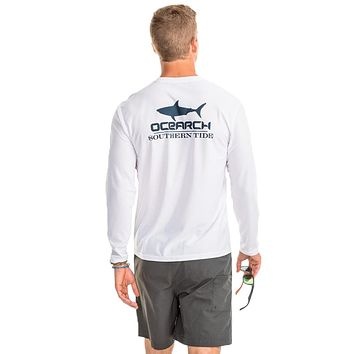 OCEARCH Long Sleeve Performance T-Shirt in Classic White by Southern Tide