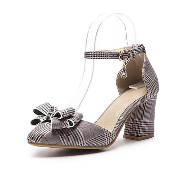 Ankle Strap Bow High Heels Sandals Summer Shoes 7142