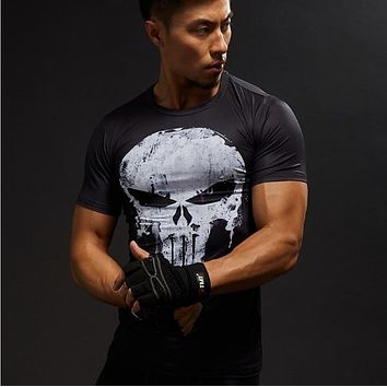 Tide brand skeleton T-shirt gun Gothic Punk skeleton TEE retro rock T shirt 3D T-shirt cartoon male style