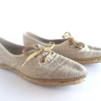 Size 6.5 Vintage Grasshoppers Woven Linen Jute Oxford Shoes