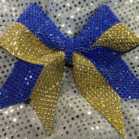 1 Royal Blue & Gold Rhinestone Bling Cheer Cheerleading Dance Ribbon Bow