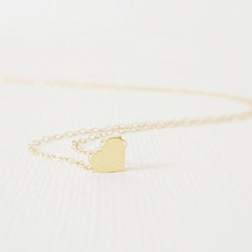 Gold heart necklace – 14k Gold filled heart necklace, Dainty gold necklace, Simple jewelry, Small heart charm