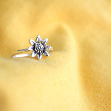 Sunflower Silver Ring Sterling Ring .925 Silver Ring Personalized Ring