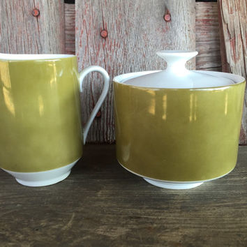 Retro Mikasa Eclipse Tawny Green creamer and sugar bowl, 1970s china, vintage Japan china coffee set, olive green white replacement china