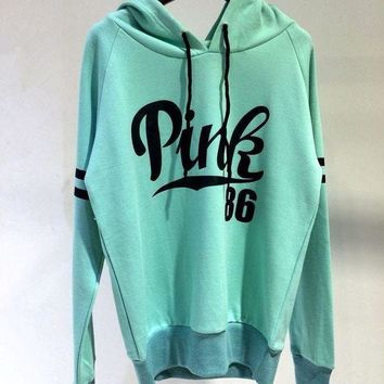 Victoria's Secret  Fashion Casual Fashion Letter Print Hooded Long-sleeves Pullover Tops Sweater Hoodie