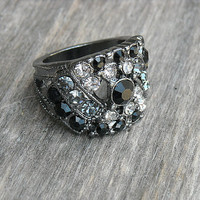 Vintage Ring, Vintage Gothic Ring, Vintage Goth, Vintage Diamond Ring, Vintage Jewel Ring, Black Ring, Gunmetal Ring, Size 7, 1990s, 90s,