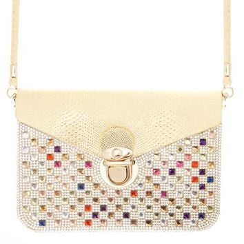 Crystal Studded Clip Lock Closure Convertible Cell Phone Wallet Cross body Bag