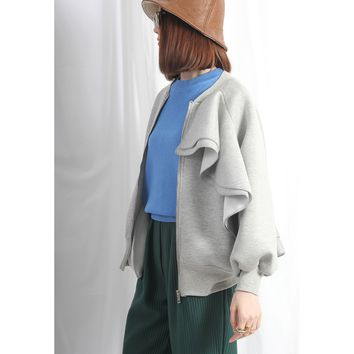 Asymmetric Frill Trim Neoprene Bomber Jacket – Grey