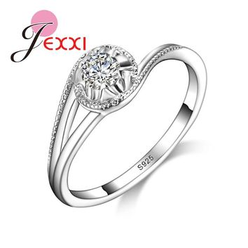 JEXXI Trendy Wedding Jewelry For Bride High Quality 925 Stamped Silver Rings With CZ Zirconia  Women Birthday Best Gifts
