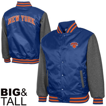 New York Knicks Majestic Big & Tall Hook Full Button Satin Jacket - Royal Blue/Charcoal