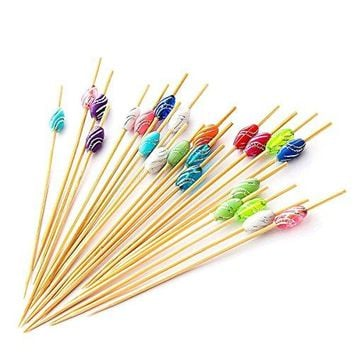 PuTwo Cocktail Picks 47quot Handmade Multicolor Appetizer Bamboo Toothpicks 100ct Multicolor