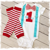 2Pc. BOYS FIRST BIRTHDAY Outfit-Baby Boys 1st Birthday Outfit-Cake Smash-Bow Tie Birthday Outfit-Red Aqua Birthday Outfit..With Name