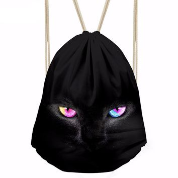 Black Cat Drawstring Bags Cinch String Backpack