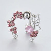 Stainless Steel Pink Buttlerfly Zircon Rhinestone Crystal Belly Button Ring