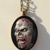 Gray and Black Polymer Clay Zombie Cameo Pendant Necklace
