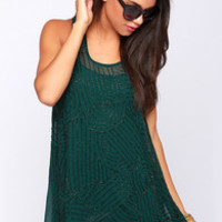 Crop Circles Beaded Dark Green Tunic Top