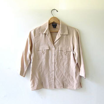Vintage silk shirt. buff colored button down shirt. Cropped silk blouse