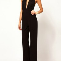 Sexy Low Cut Backless Jumpsuit In Black - Choies.com