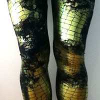 Soul Trend Leggings/Nylon Spandex Stretch Fabric/Tights Lime Fossil Foil on Black Size 8, 10, 12, 14, 16 New