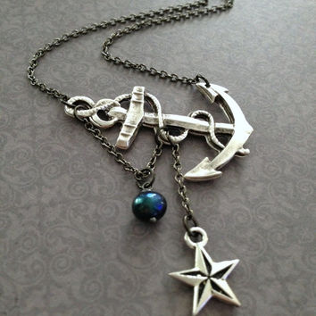 Lost at Sea Necklace by SBC Silver Plated Anchor, Nautical Star, Navy Blue FW Pearl, Anchor Jewelry, Sailor Necklace, Nautical Jewelry, Ahoy
