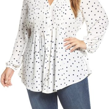Melissa McCarthy Seven7 Print Pintuck Blouse (Plus Size) | Nordstrom