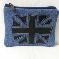 union jack pouch leather pouch denim pouch recycled by reloveduk