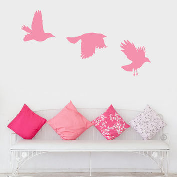 Birds in motion Wall/Door Decal - (Quote Words Hemingway Home Decor)