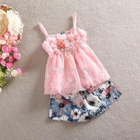 Summer Children Girl Suit 2 pcs Girls Lace Chiffon Flower Vest Dress + Flower Printing Shorts Pant Children Clothing.