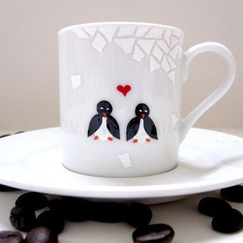 Penguins in SnowEspresso Cup and Saucer by SwirlyGarden on Etsy