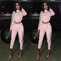 Women Casual Fashion Irregular Multicolor Long Sleeve Crop Tops Trousers Set Two-Piece Sportswear
