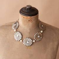 Floral Concho w/ Linked Pearls