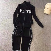 Valentino Autumn And Winter New fashion  letter string mark print long sleeve top and pants two piece suit