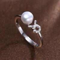 Silver Taurus Ring White Freshwater Pearl Ring Fine Constellation Jewelry For Women