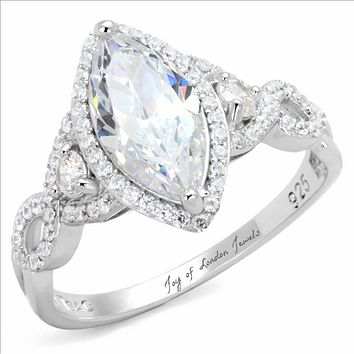 A Perfect 2CT Marquise Cut Halo Russian Lab Diamond Engagement Ring