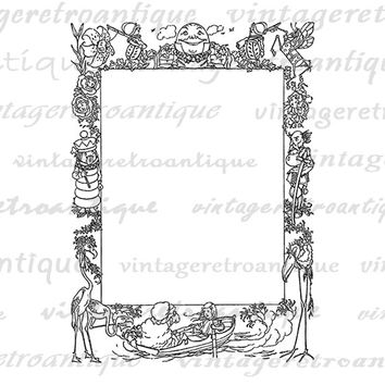 Printable Alice in Wonderland Through the Looking Glass Frame Image Download Graphic Digital Jpg Png Eps  HQ 300dpi No.2524