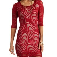 Bar-Back Bodycon Lace Dress by Charlotte Russe