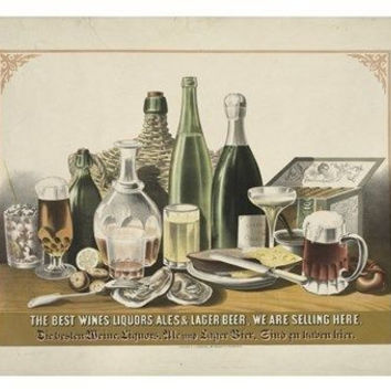 the best WINES LIQUORS & BEERS vintage lithograph poster 24X36 composite NEW