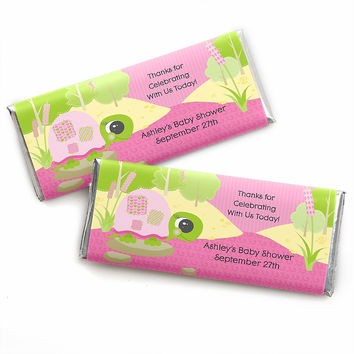 Pink Baby Turtle - Personalized Baby Shower Candy Bar Wrapper Favors