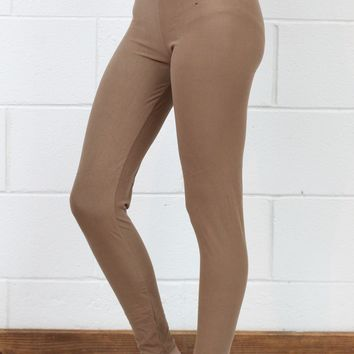 High Waisted Basic Solid Leggings {Tan}