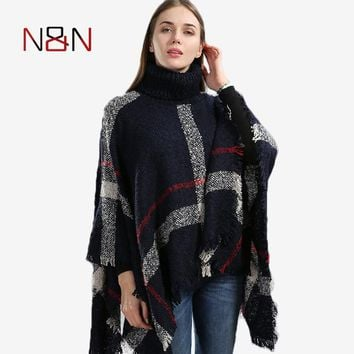 Winter Sweater Women Knitted Poncho Turtleneck Ladies Thick Warm Sweaters And Pullovers Plus Size Poncho And Capes